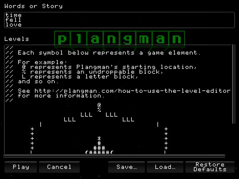 Screenshot of the Plangman Level Editor